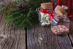 Christmas decoration ideas, nonpareils in glass bottle Stock Photos