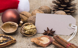 Christmas decoration. Image shows christmas decoration with blank label stock photo