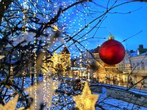 Free Christmas Decoration In The City ,red Ball On Tree And Blurred Light In Old Town Of Tallinn Landscape Panorama,blue Winter Sky ,me Stock Images - 165573784