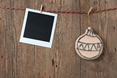 Christmas decoration with instant photo Stock Photography