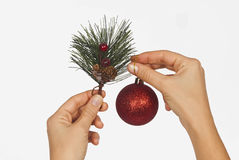 Christmas decoration isolated. On the white background Royalty Free Stock Photos
