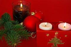 Christmas decoration isolated on red Royalty Free Stock Image