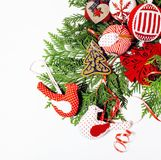 Christmas decoration isolated , white background for post card gift vintage, copyspace for text, fashion stylish red Stock Images