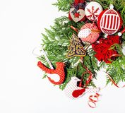Christmas decoration isolated , white background for post card gift vintage, copyspace for text, fashion stylish red. Toys close up Royalty Free Stock Photography