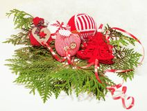 Christmas decoration isolated , white background for post card gift vintage, copyspace for text, fashion stylish red Royalty Free Stock Images