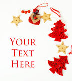 Christmas decoration isolated , white background for post card gift vintage, copyspace for text, fashion stylish red Stock Photography