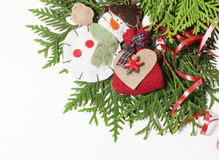 Christmas decoration isolated , white background for post card gift vintage, copyspace for text, fashion stylish red Stock Photo