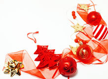 Christmas decoration isolated , white background for post card gift vintage, copyspace for text, fashion stylish red Royalty Free Stock Photo