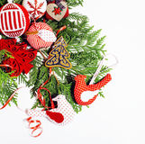 Christmas decoration isolated , white background for post card gift vintage, copyspace for text, fashion stylish red Stock Image