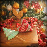 Christmas decoration- knitted heart Stock Photography