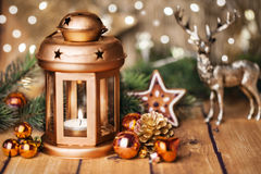 Christmas decoration with lantern Royalty Free Stock Photo