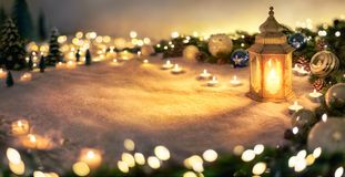 Christmas decoration with lantern and lights stock photography
