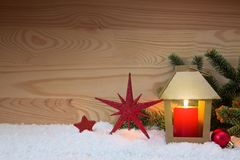 Christmas red star and latern. Christmas card. Stock Photography