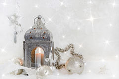 Christmas decoration with a latern in white and silver for a chr Stock Photography