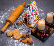 Christmas decoration with lebkuchen- house Royalty Free Stock Image