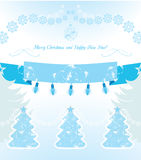 Christmas decoration on the light blue background. Postcard Stock Images