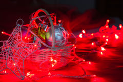 Christmas decoration with light bulb Royalty Free Stock Photos