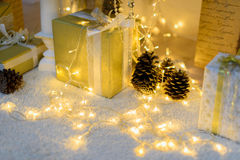 Christmas decoration lights background miracle.  Stock Photos