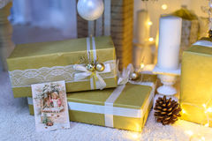 Christmas decoration lights background miracle.  Royalty Free Stock Photo