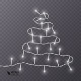 Christmas decoration, lights effects  design elements. Glowing lights for Xmas Holiday greeting card design. Vector eps 10 Stock Photography