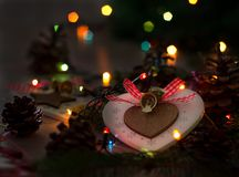 Christmas decoration and lights on table stock images