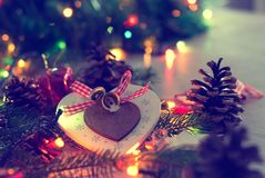 Christmas decoration and lights on table royalty free stock image