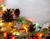 Christmas decoration and lights on table stock image