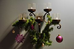 Christmas decoration with lights and wreaths royalty free stock images