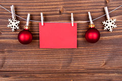 Christmas Decoration on a Line with Empty Label Royalty Free Stock Photo