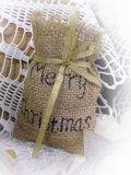 Christmas decoration. Linen bag Stock Image