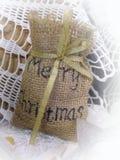 Christmas decoration. Linen bag Stock Image