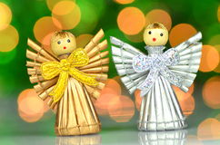 Christmas decoration, little angels. Christmas decoration, angels against bokeh background Stock Image