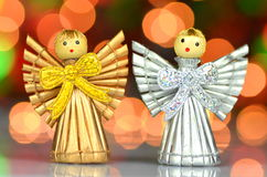 Christmas decoration, little angels. Christmas decoration, angels against bokeh background Royalty Free Stock Images