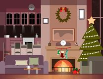Christmas Decoration Of Living Room. Vector Illustration Royalty Free Stock Photos