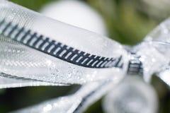 Christmas decoration - macro elements silver. Christmas decoration - macro elements christmas tree silver decoration Royalty Free Stock Photo