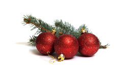 Christmas Decoration. Made of red globes, on white background Royalty Free Stock Image