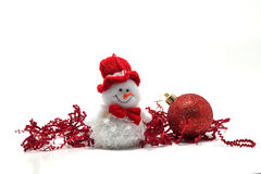 Christmas Decoration. Made of red globes, on white background Royalty Free Stock Photography