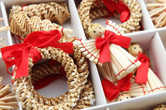 Straw holiday decoration. Christmas decoration made of straw in a box Royalty Free Stock Photos