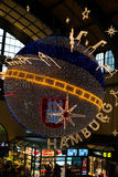Christmas decoration in main station of Hamburg, Germany Royalty Free Stock Images