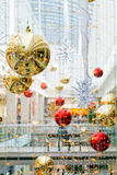 Christmas decoration in the mall. Beautiful decoration of the shopping mall for christmas Royalty Free Stock Photography
