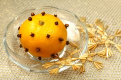 Christmas decoration - mandarin aromatizer Royalty Free Stock Images