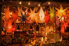 Christmas decoration on the Christmas Market. stock photography