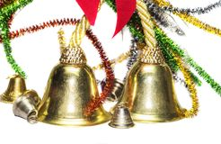 Christmas decoration material. Having big and small bells along with the wireframes stock photo