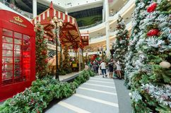Christmas decoration in Mid Valley Megamall. People can seen exploring and shopping around it. Royalty Free Stock Photography