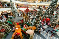 Christmas decoration in Mid Valley Megamall. People can seen exploring and shopping around it. Stock Photo