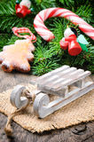 Christmas decoration with mini sleigh Stock Images