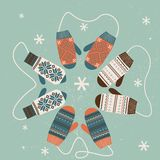 Christmas decoration with mittens.  Stock Photo