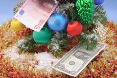 Christmas decoration and money stock photography