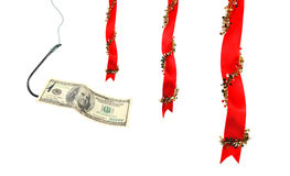 Christmas decoration and money on  hook Stock Photo