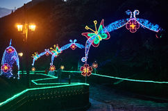 Christmas decoration in Monserrate. BOGOTA, COLOMBIA - JANURAY 6, 2015: Some Christmas decoration at the top of the hill Monserrate, in Bogota Stock Photo